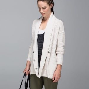 Lululemon Post Practice Cardigan Heathered Oatmeal